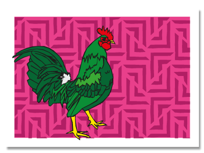 "chinese zodiac sign postcard ""Rooster"""