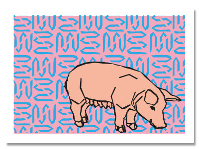 "chinese zodiac sign postcard ""Pig"""