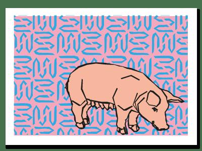 "chinese zodiac sign postcard ""Pig"""