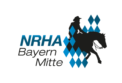 Logo of NRHA Bayern Mitte, shilouette of horse and rider with blue rhombs