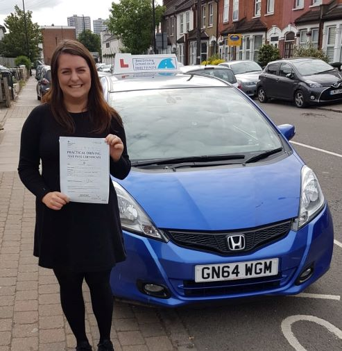 Hannah passing her test