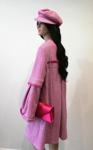 Manteau en tweed rose