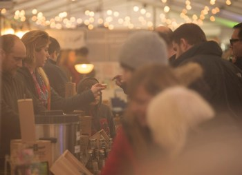 The Padstow Christmas Market at night.