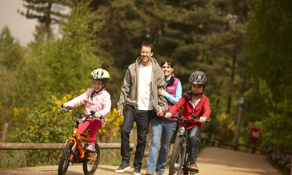 Parents Walking and Children Cycling