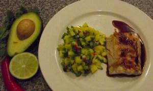 Salmon with mango and avocado salsa
