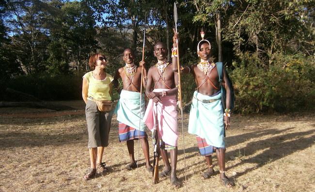 Gill with Samburu warrior and elders