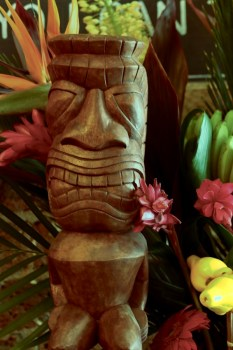 An authentic Tiki God is part of the decor at Barsmith Goes Tiki popup in Farringdon this summer
