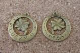Trèfle lucky bronze, diamètre de 25mm