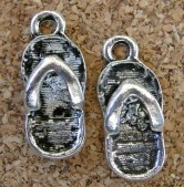 Sandales flip-flop argentées, 20x9mm