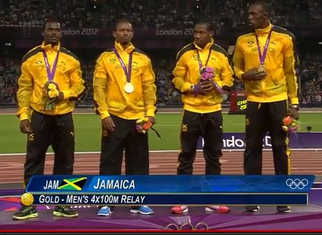 The Jamaican male 4x100m relay gold medal winners and new olympics record holders.
