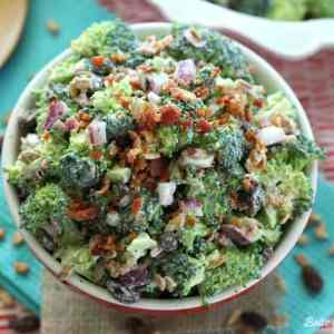 This lightened up Skinny Broccoli Salad gets a delicious crunch from the sunflower kernels and crisp broccoli, with a delicious healthy dressing made from Greek yogurt!