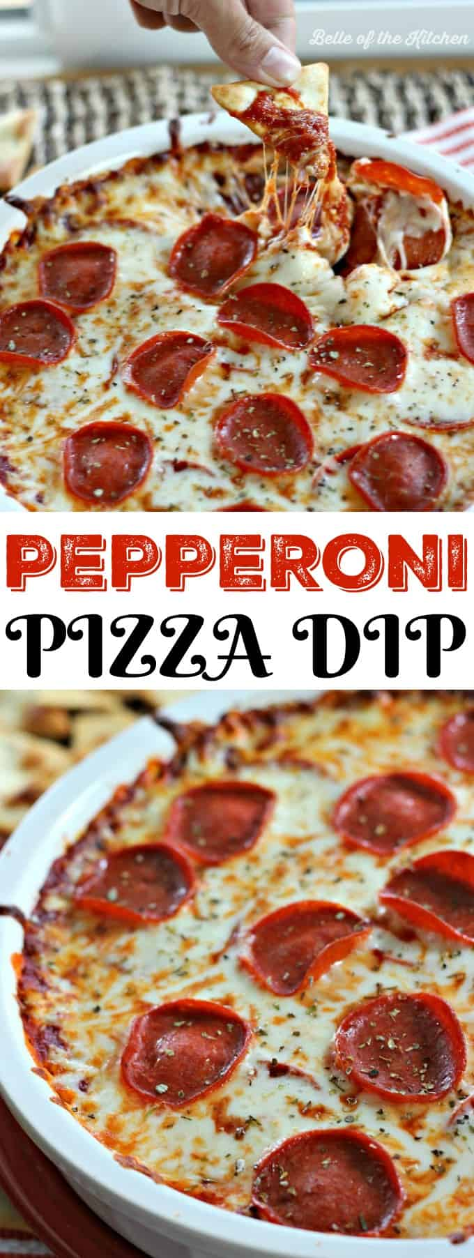 This Pepperoni Pizza Dip is such an easy and fun appetizer! If you've got 20 minutes and a few simple ingredients, then get ready to dive into this cheesy goodness!