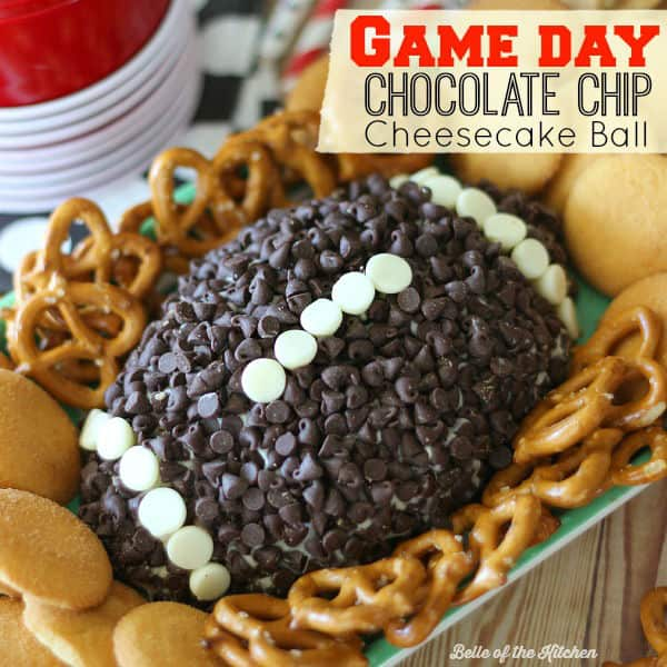 This Chocolate Chip Cheesecake Ball is the perfect appetizer for game day snacking! Go on and wow your guests at your next football party with this easy, yummy treat!