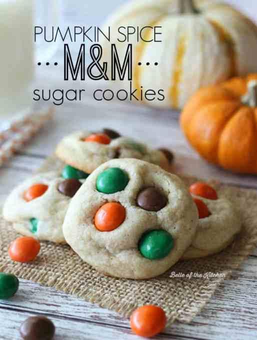 Pumpkin Spice M&M Sugar Cookies