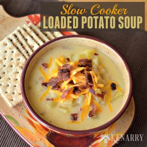 Slow Cooker Potato Soup - a creamy comfort food loaded with ham, bacon, cheese and lots of potatoes. You can easily make this yummy soup in your crockpot or slow cooker.