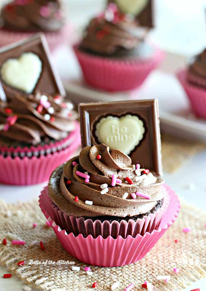 Moist chocolate cupcakes topped off with a decadent Ghirardelli dark chocolate ganache frosting.