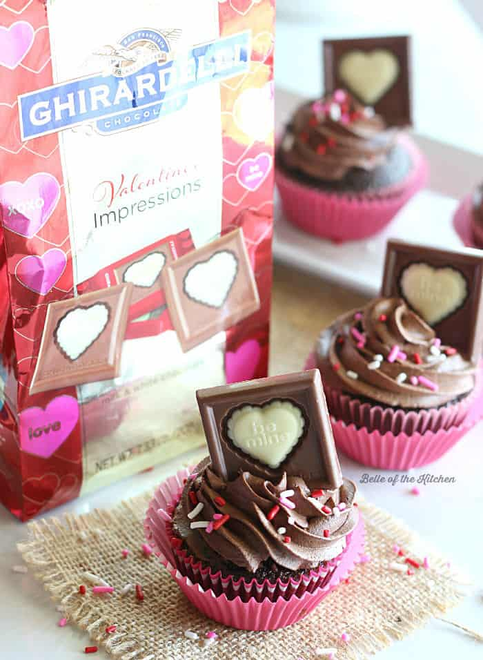 Buttermilk Chocolate Cupcakes with Whipped Ganache Frosting: Moist chocolate cupcakes topped off with a decadent Ghirardelli dark chocolate ganache frosting.