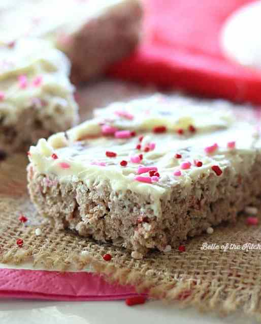 White Chocolate Covered Strawberry Rice Krispie Treats