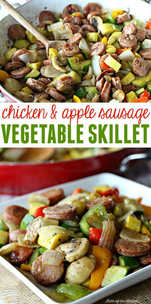 Chicken Apple Sausage Recipes Keto : chicken, apple, sausage, recipes, Chicken, Apple, Sausage, Vegetable, Skillet, Belle, Kitchen