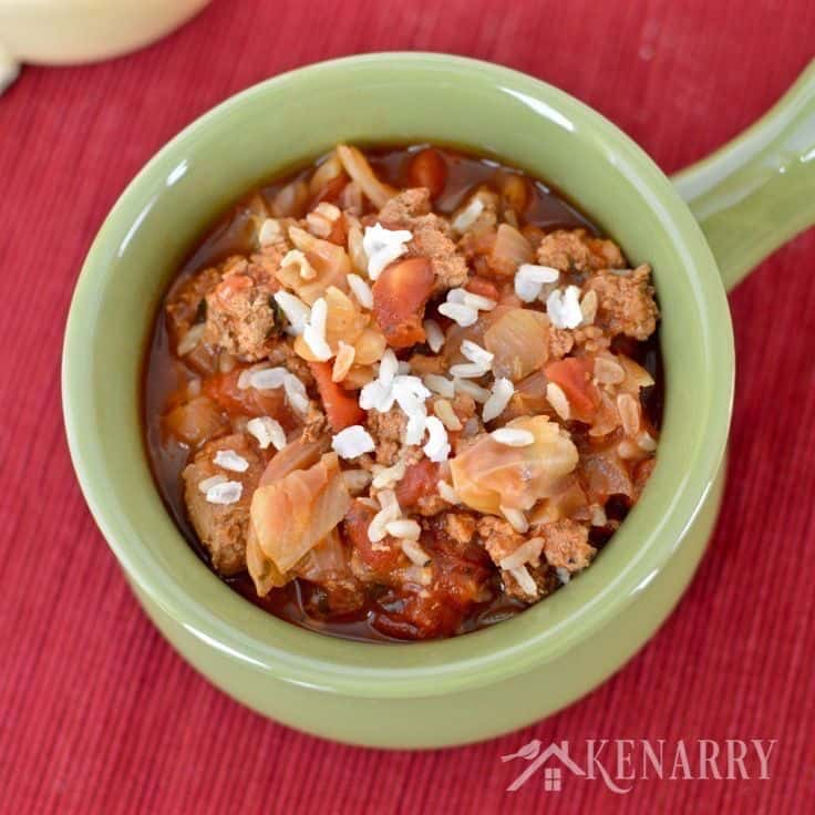 Yum! This Slow Cooker Cabbage Roll Soup is an easy dinner idea. It's a delicious recipe made with ground turkey, rice and chopped cabbage, perfect for chilly fall and winter days.