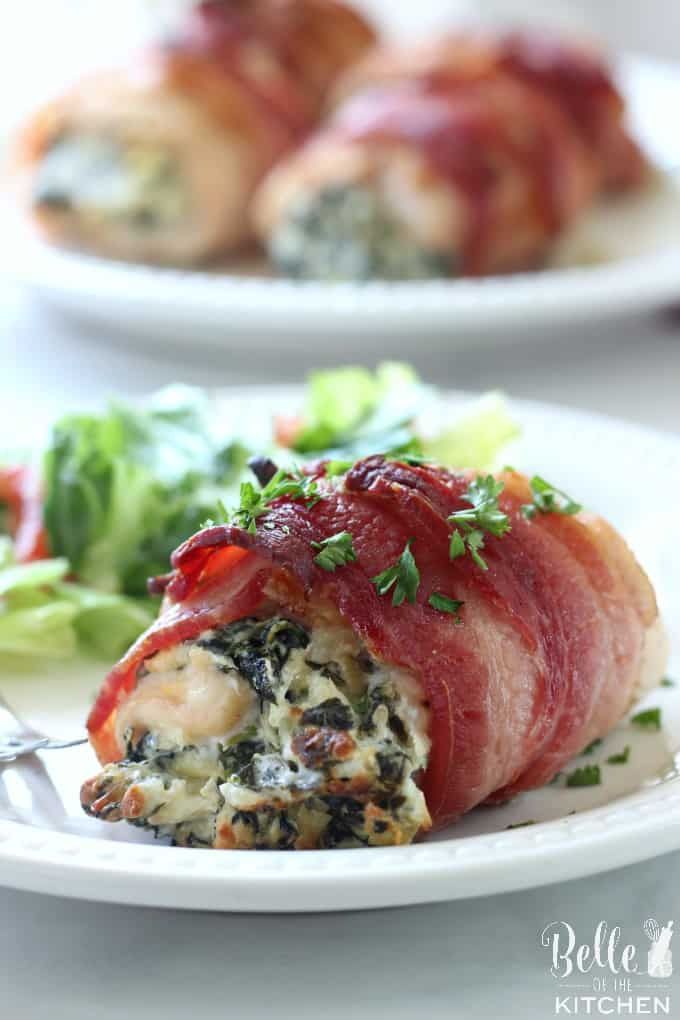 This Bacon Wrapped Spinach Artichoke Stuffed Chicken is one of my family's favorite dinners! So good and yummy!