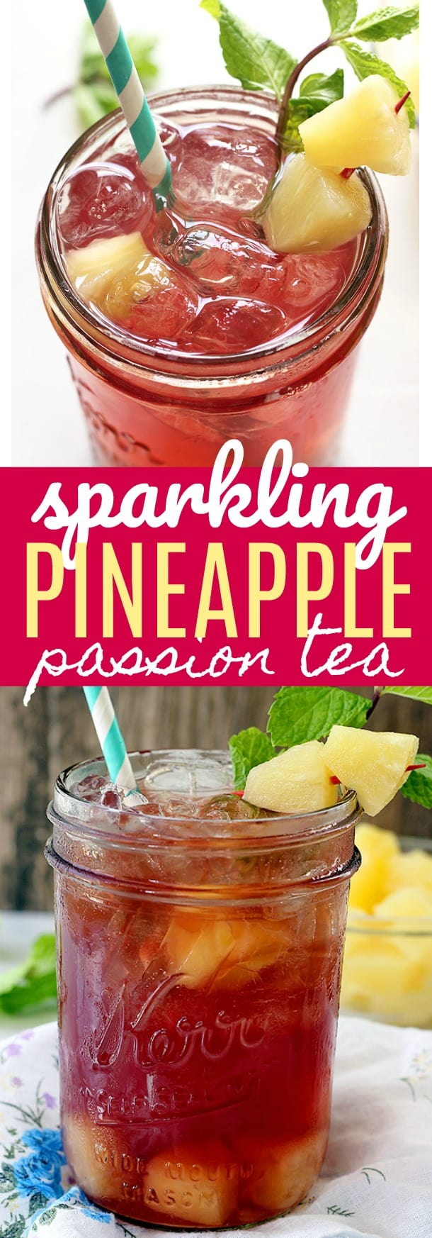 Sparkling Pineapple Passion Tea - If you like Tazo® Passion Tea, then you will love this refreshing twist on your favorite drink! Made with three simple ingredients and perfect for sipping on this summer.