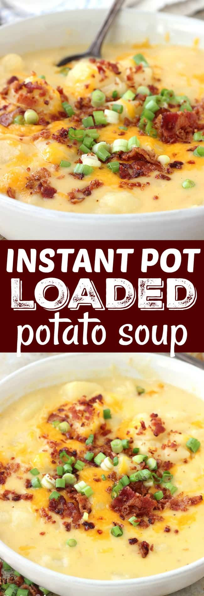 My family LOVES this Instant Pot Loaded Potato Soup. It's so creamy and full of flavor; plus ready in a flash!