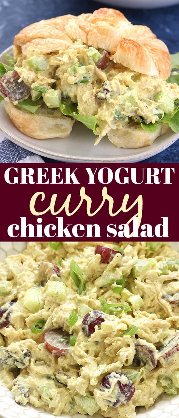 This Greek Yogurt Curry Chicken Salad is super flavorful and simple to make! It's lightened up and packed with protein thanks to Greek yogurt. It tastes amazing as a sandwich, salad, or with pita chips and veggies!