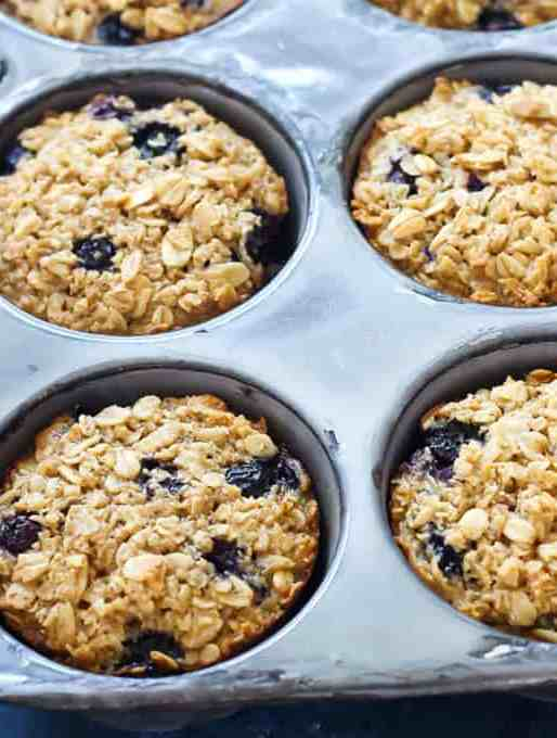 Blueberry Baked Oatmeal Cups {Make Ahead, On-the-go Breakfast}