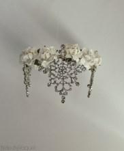 Handmade Snow White toned tiara with flowers