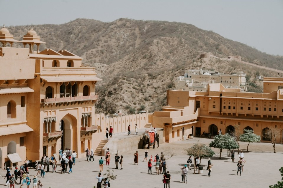 Image shows an Ancient Eastern Square with a clever mix of the Ancient and Modern