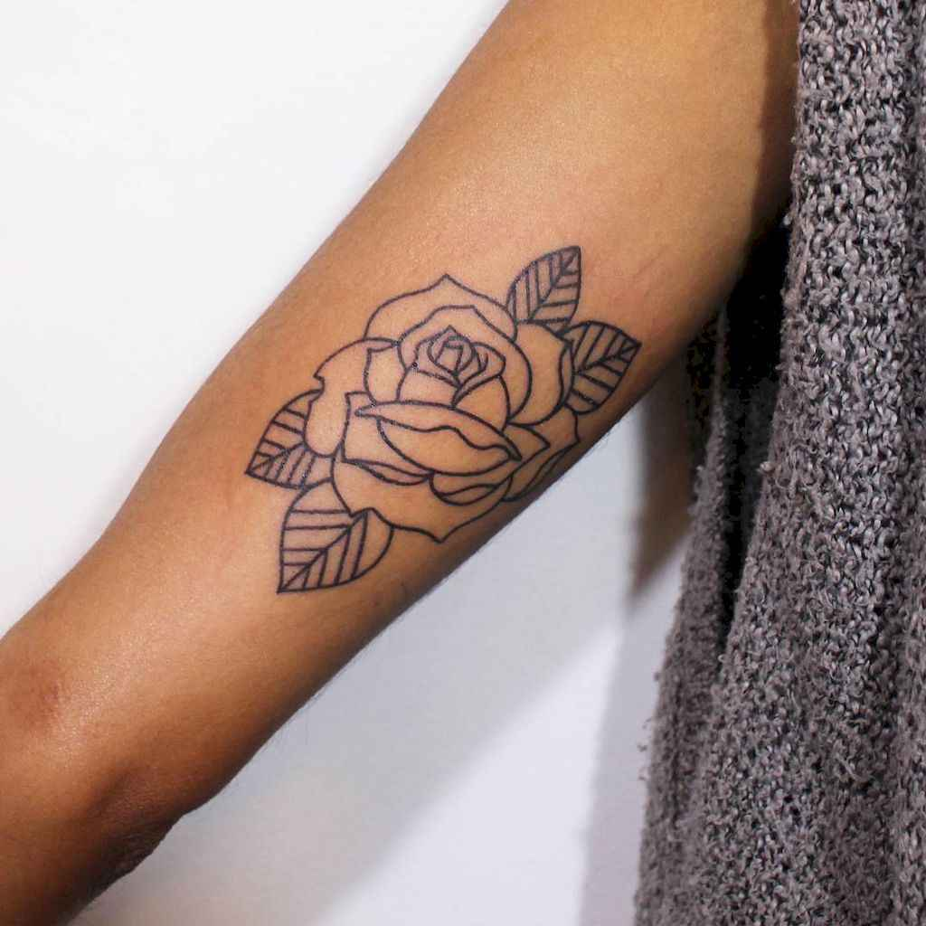 30 Traditional Rose Outline Tattoo Designs Ideas