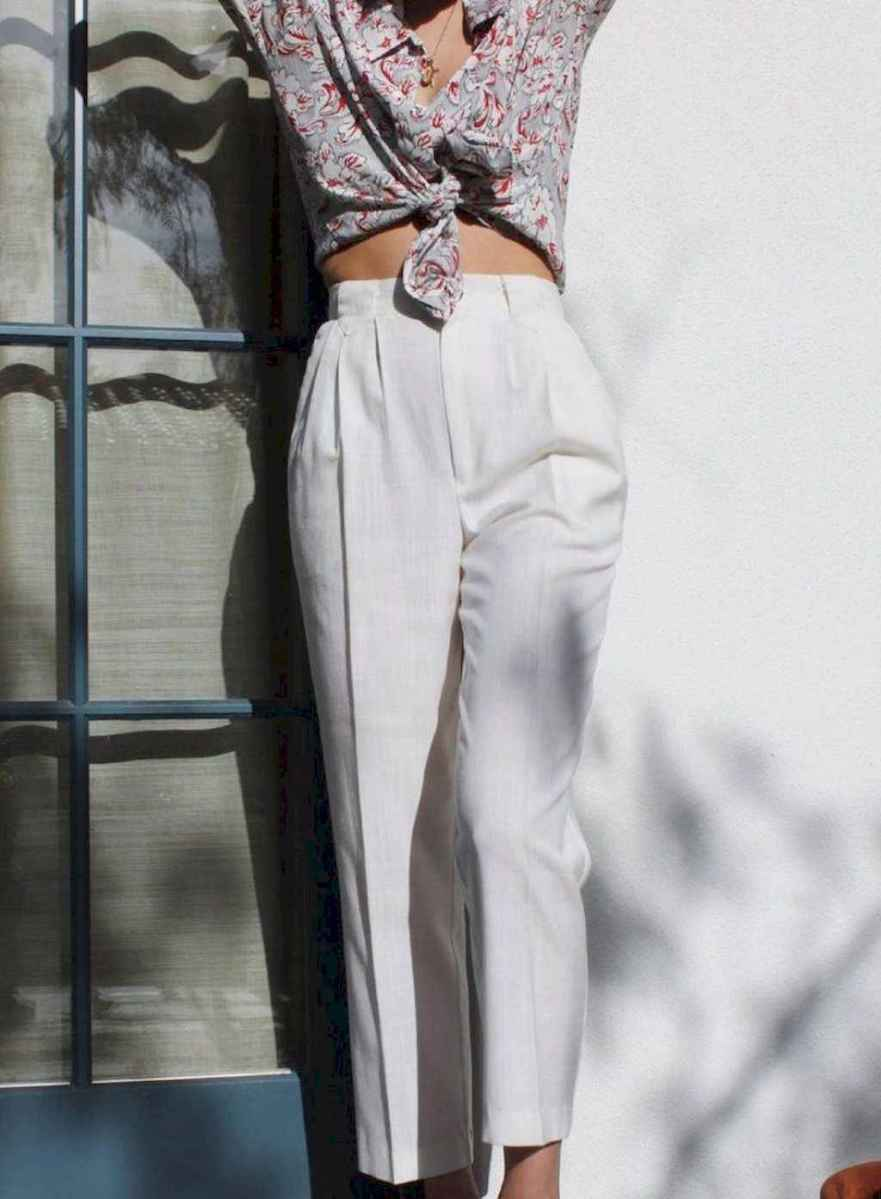 04 Summer White Linen Pants Outfit for Women