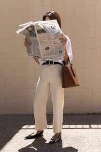06 Elegant Beige Linen Pants Outfit Ideas