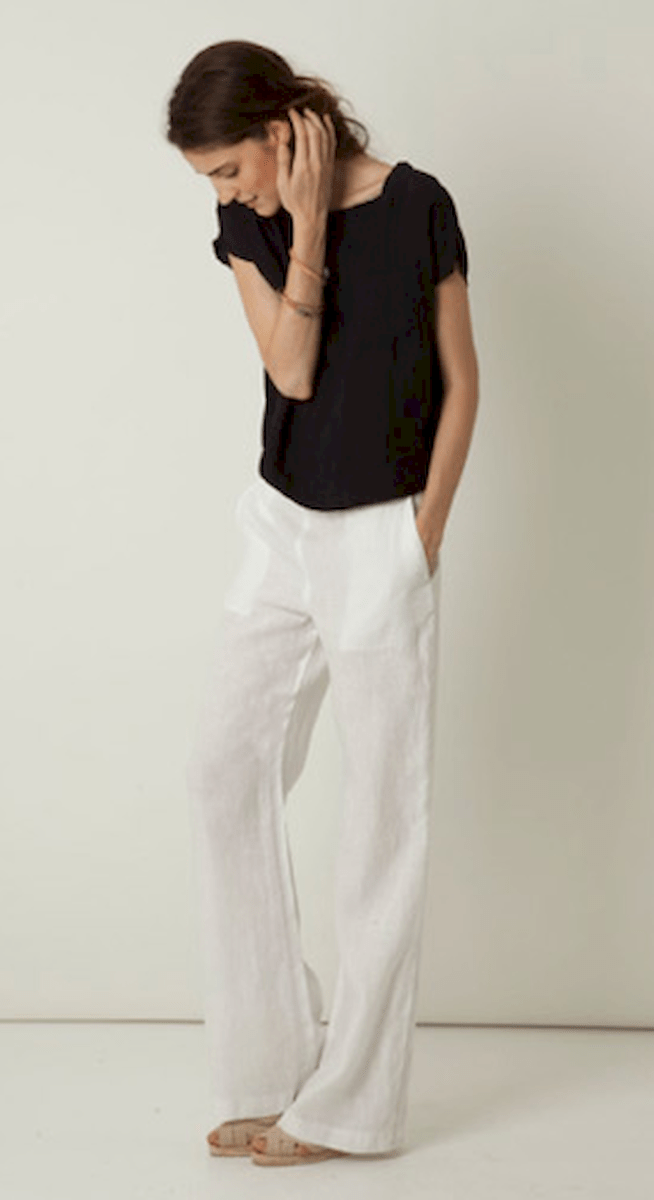 28 Summer White Linen Pants Outfit for Women