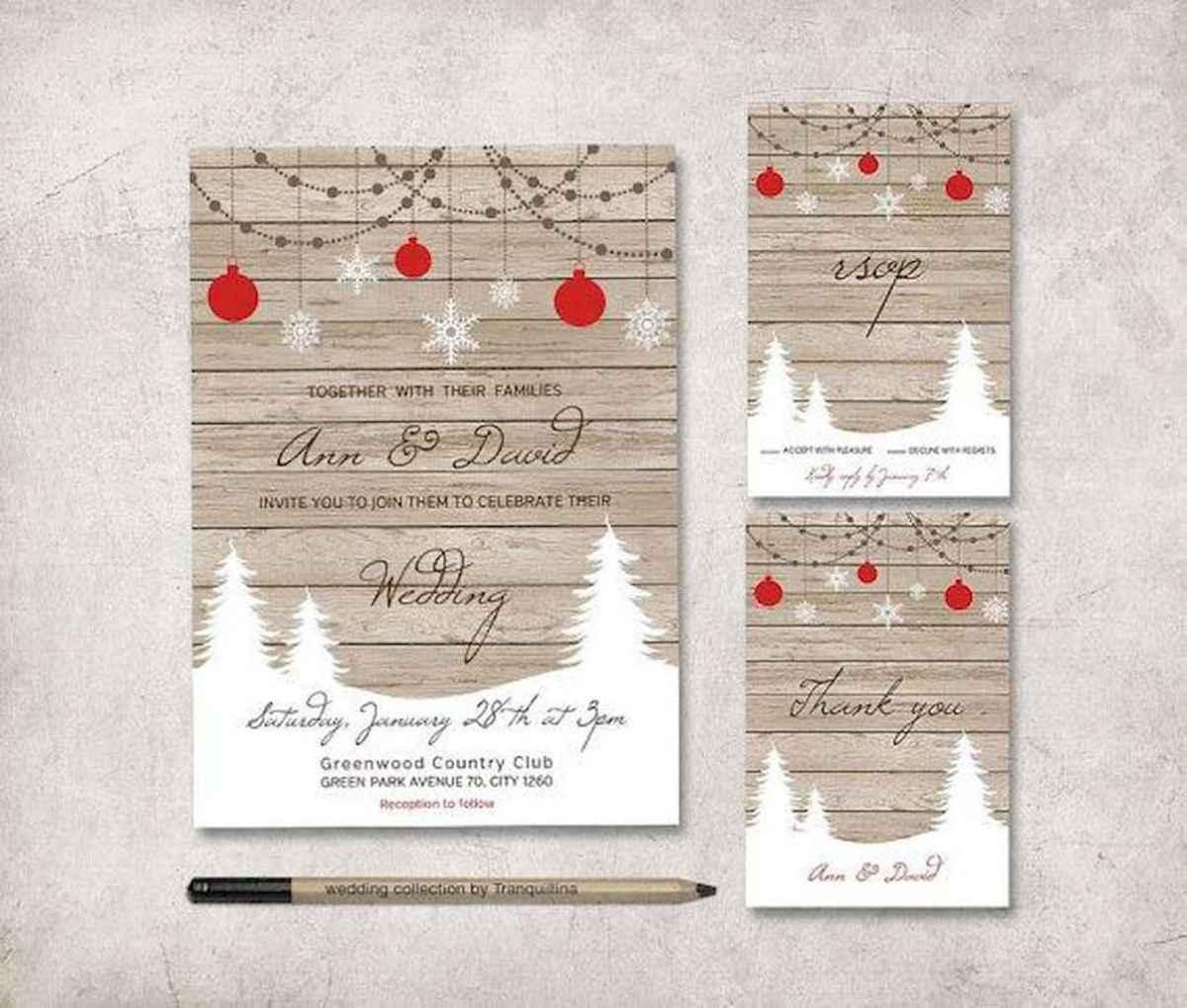 36 Elegant Christmas Wedding Invitations Ideas