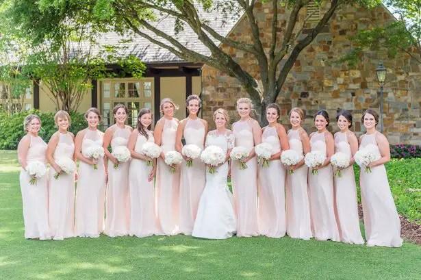 Long blush bridesmaid dresses- Heather Durham Photography