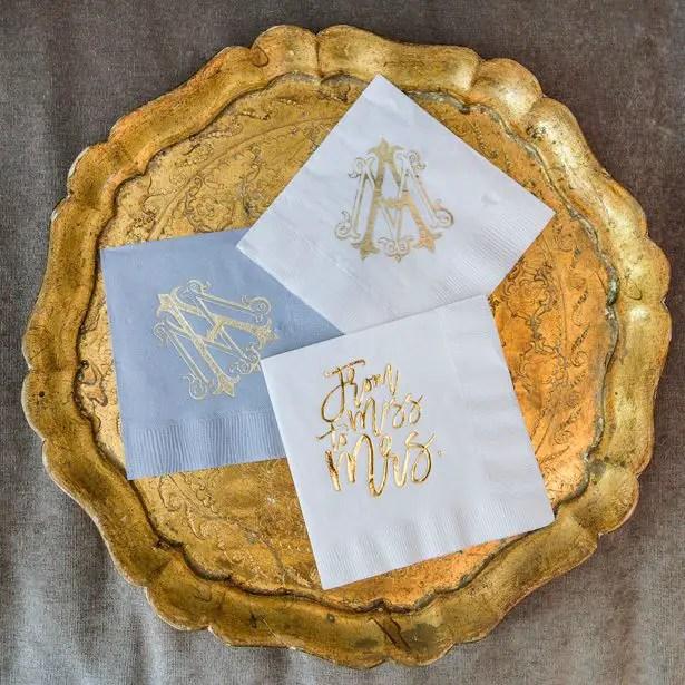 Personalized wedding napkins - Heather Durham Photography