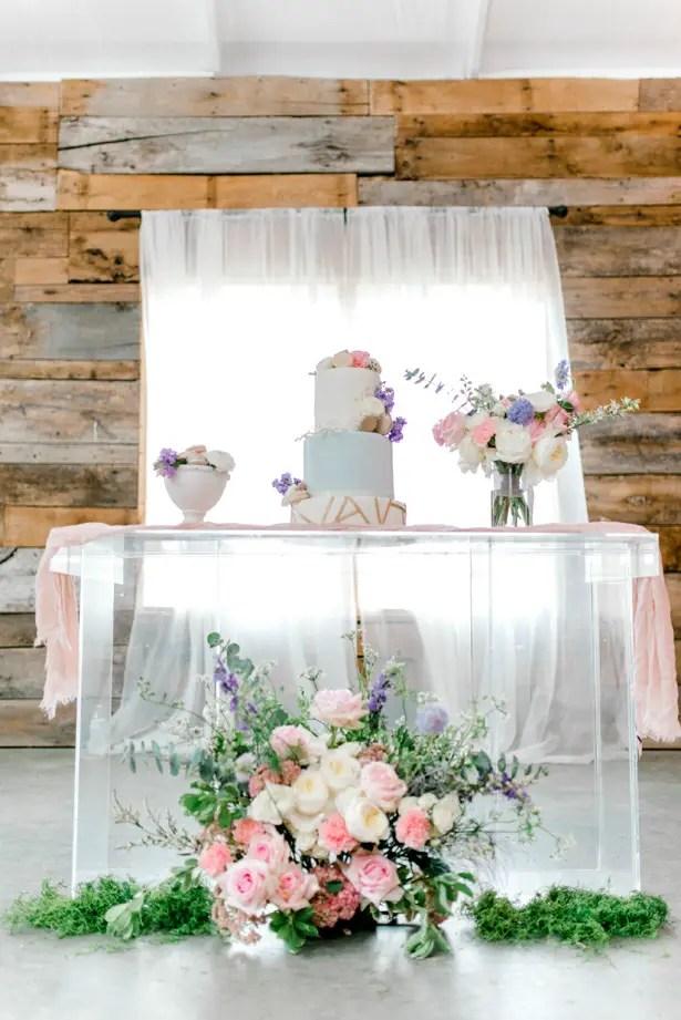 Feminine Pastel Wedding Cake Table Decor - Bobby Jean Photography