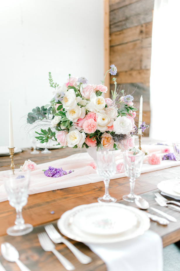 Feminine Pastel Wedding Centerpiece for the Romantic Bride - Bobby Jean Photography