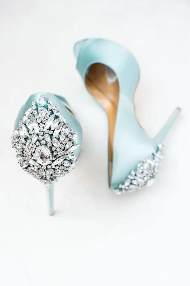 Glamorous blue wedding shoes - Lynne Reznick Photography