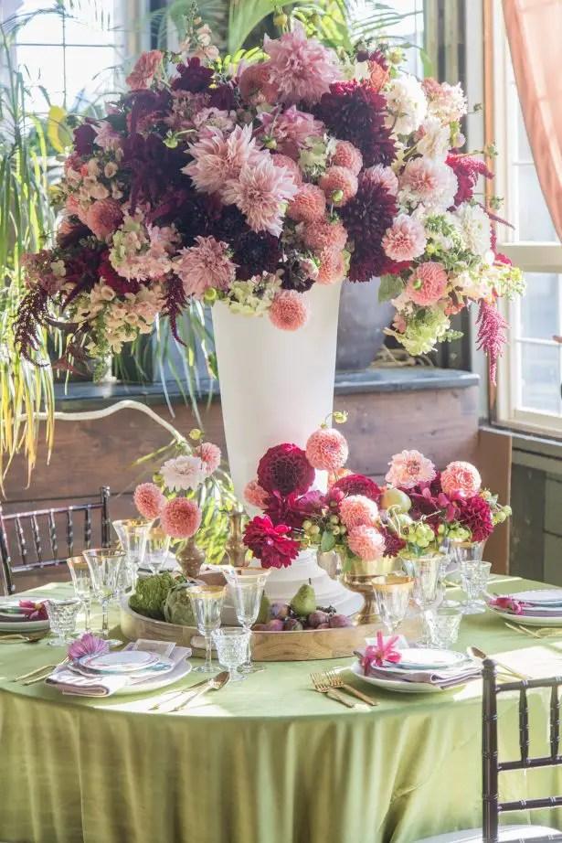 Tall wedding centerpiece with burgundy and blush flowers - Photography: Szu Designs, Inc