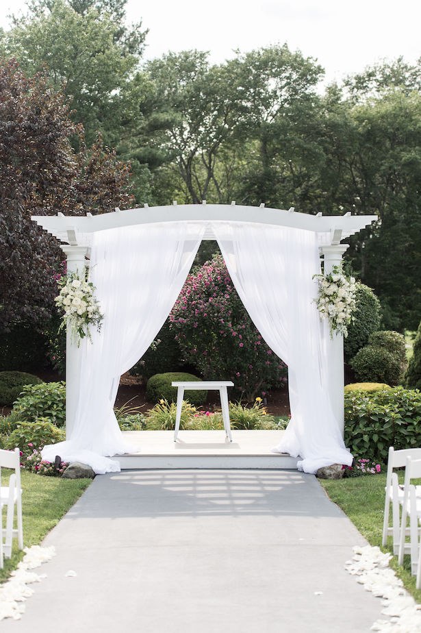 White wedding ceremony arch decor - Lynne Reznick Photography