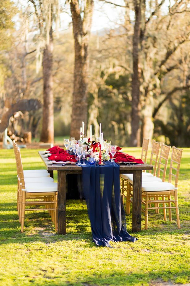 Burgundy and navy blue long chairs and gold chairs - Holley Elizabeth Photography