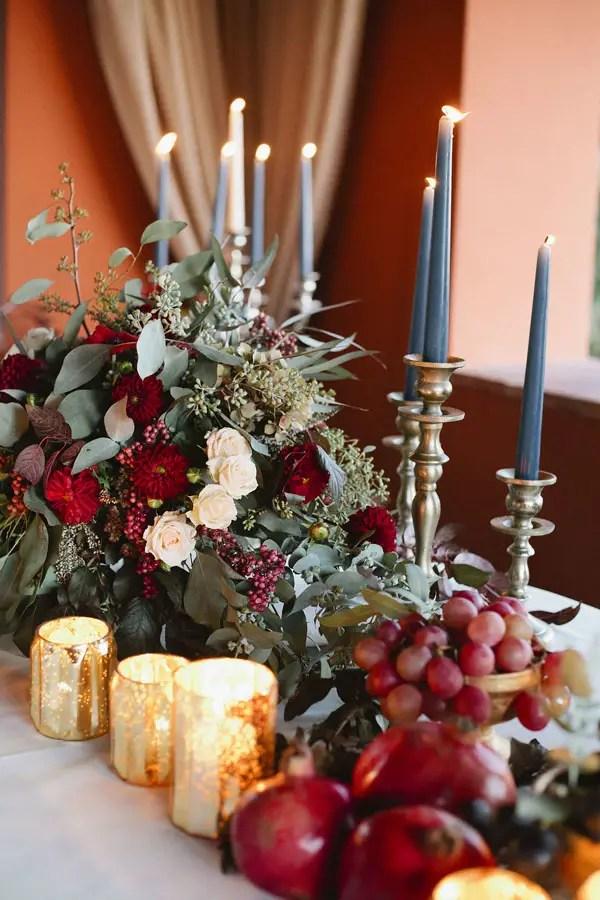 Burgundy Wedding Centerpiece - Purewhite Photography