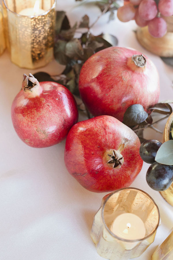 Fruit and gold wedding candle holders - Purewhite Photography