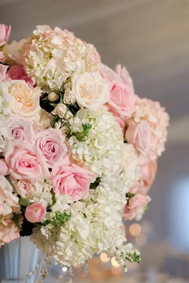 Pink Tall wedding centerpiece - Krystle Akin Photography