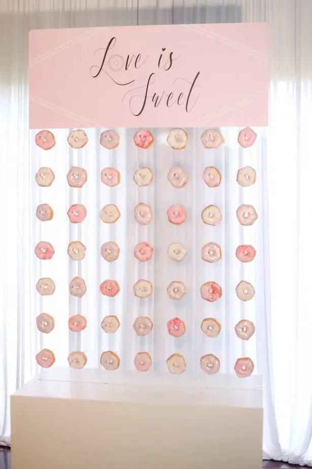 Acrylic light pink Wedding donut wall - Krystle Akin Photography