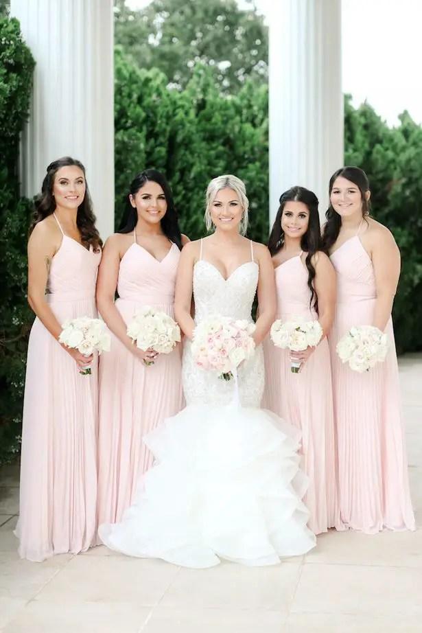 Long blush bridesmaid dresses - Photo: Krystle Akin
