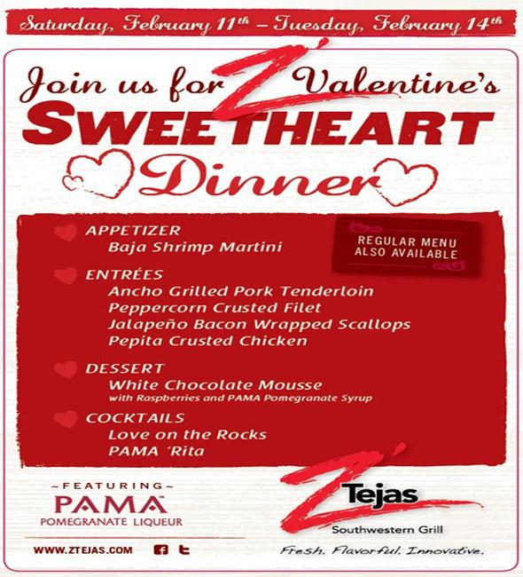 Valentines Sweetheart Dinner At ZTejas Bellevue Events